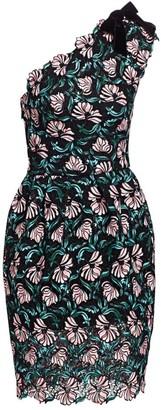 Monique Lhuillier One-Shoulder Lace Cocktail Dress
