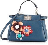 Fendi Peekaboo Micro Flower Satchel Bag, Pavone Blue
