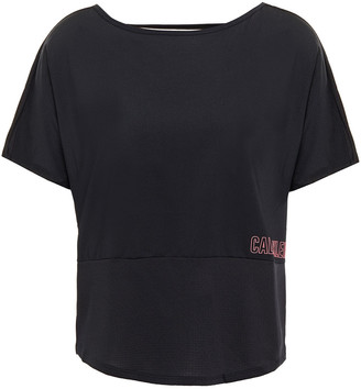 Calvin Klein Cutout Paneled Printed Stretch-jersey T-shirt