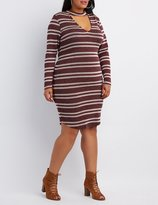 Charlotte Russe Plus Size Striped Cut-Out Mock Neck Dress