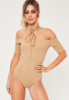 Missguided Nude Lace Up Choker Bardot Bodysuit