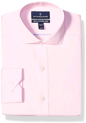 Buttoned Down Tailored Fit Cutaway Collar Solid Non-Iron Dress Shirt Light Pink/Pockets 17.5 Inches Neck 37 Inches Sleeve