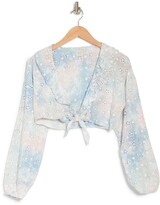 Thumbnail for your product : Surf.Gypsy Tie Dye Eyelet Ruffle Cover Up Top