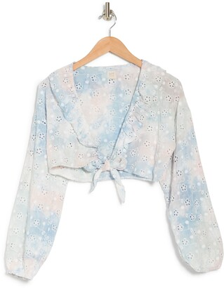 Surf.Gypsy Tie Dye Eyelet Ruffle Cover Up Top