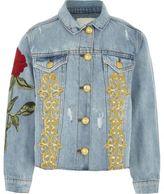 River Island Girls Blue rose embroidered denim jacket