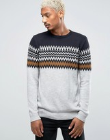 Pull&Bear Fair Isle Sweater In Gray & Navy