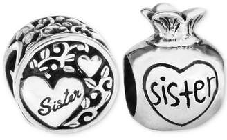 Rhona Sutton 2-Pc. Set Sister Love & Treasure Bead Charms in Sterling Silver