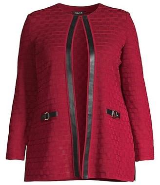 Misook, Plus Size Faux Leather Trim Grid Knit Jacket