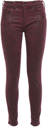 7 For All Mankind Snake-print Coated Mid-rise Skinny Jeans