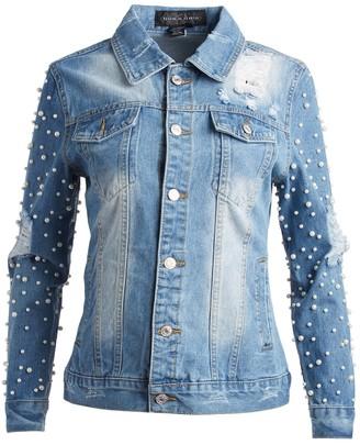 Live A Little Women's Denim Jackets BOYFRIEND - Blue Embellished-Sleeve Denim Jacket - Women
