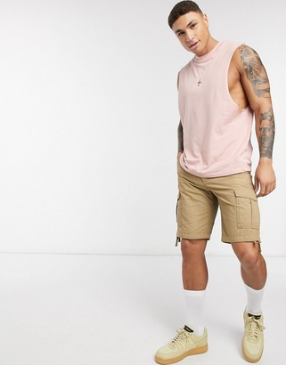 ASOS DESIGN organic relaxed sleeveless t-shirt with dropped armhole in pink