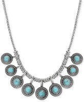 Lucky Brand Silver-Tone Reconstituted Turquoise Collar Necklace