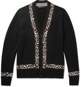 Alexander McQueen Leopard Intarsia Wool, Silk and Cashmere-Blend Cardigan