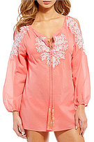 Gianni Bini Solid Embroidered Cold Shoulder Tunic Coverup