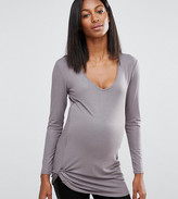 Noppies Maternity Metallic Long Sleeve Top With Ruched Detail