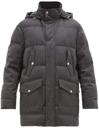 Brunello Cucinelli Hooded Down Quilted Wool Blend Parka - Mens - Grey