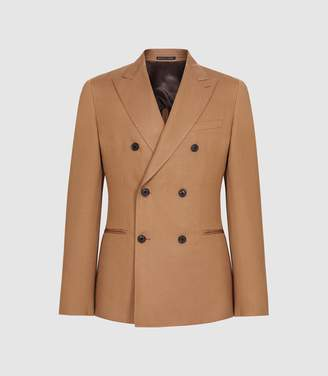 Reiss Alabama - Linen Blend Double Breasted Blazer in Tobacco