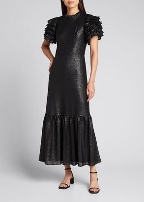 Sea Rachelle Ruffle-Sleeve Sequined Gown