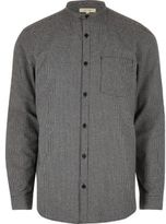 River Island Grey Casual Pupstooth Grandad Flannel Shirt