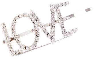 Quiz Silver Diamante Love Hair Clip