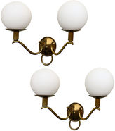 One Kings Lane Vintage Double Globe French Sconces, Pair