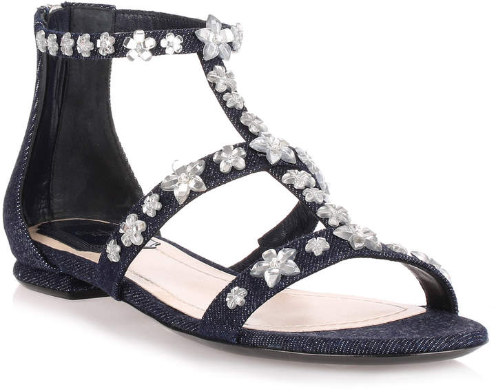 Christian Dior Garland Blue Denim flat sandal