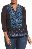 Lucky Brand Plus Size Women's Embroidered Roll Sleeve Top