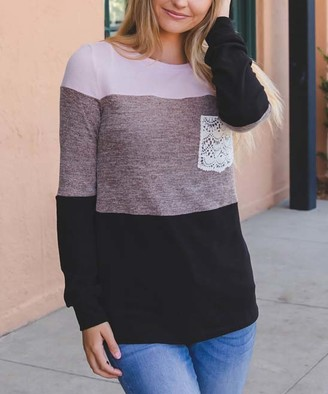 Tickled Teal Women's Tee Shirts Pink/mauve/black - Pink & Black Color-Block Lace Pocket Pullover - Women