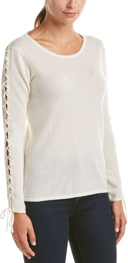 Richard Quinn Qi Cashmere Lace-Up Sleeve Sweater