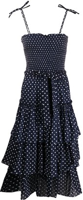 Tory Burch Polka-Dot Print Smocked Midi Dress