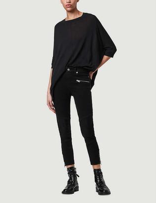 AllSaints Della split-hem cotton and linen-blend top