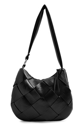 Topshop Woven Faux Leather Hobo Bag