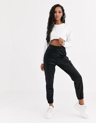 Asos Design DESIGN satin jogger with pockets-Black
