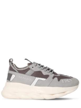 Versace Chain Reaction Grey Leather Trainers