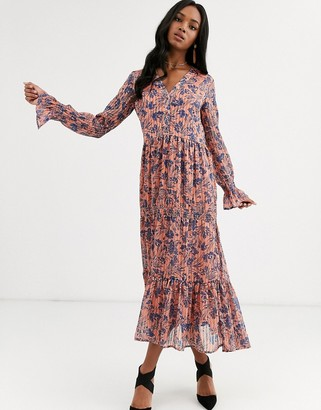 Y.A.S floral maxi dress with gather detail