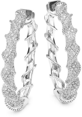 Fallon Rhodium-Plated Cubic Zirconia Helix Hoop Earrings