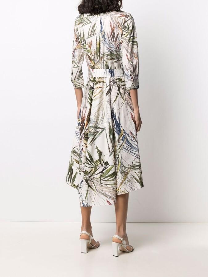 Thumbnail for your product : Sara Roka Chemisier tropical-print tied shirtdress