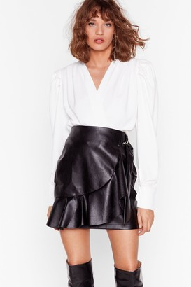 Nasty Gal Womens Faux Leather Saw It Coming Ruffle Mini Skirt - Black