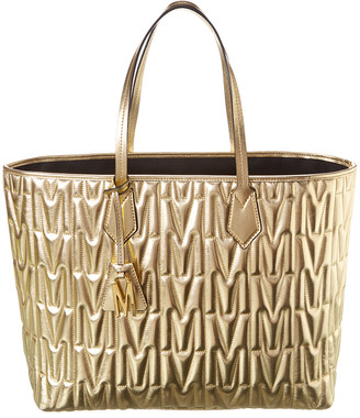 Moschino M Quilted Metallic Leather Tote