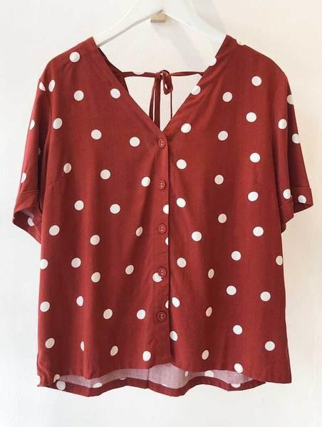 Sugarhill Boutique Emeline Polka Tie Back Shirt - 14