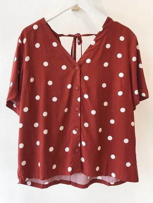Sugarhill Boutique Emeline Polka Tie Back Shirt - 14