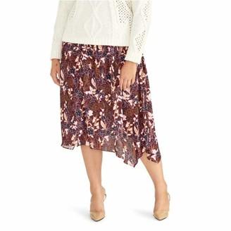Rachel Roy Womens Burgundy Floral Midi A-Line Skirt Plus Size: 1X