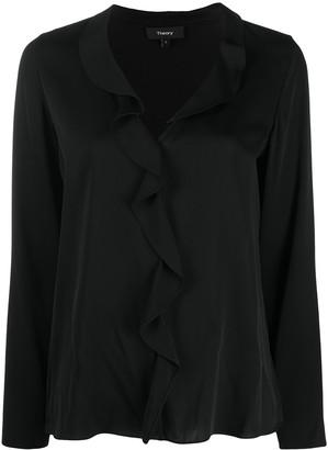 Theory ruffled V-neck blouse