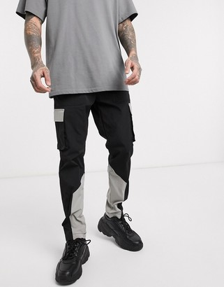 Jack and Jones Core nylon color block cargo pants in black