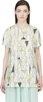 Roksanda Grey and Yellow Silk Geometric Baynes T-shirt