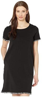 Tribal T-Shirt Dress w/ Fringe (Black) Women's Clothing