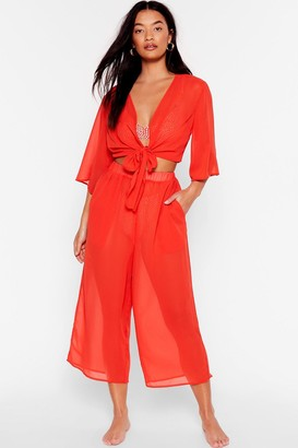 Nasty Gal Womens Wide on Time Chiffon Cover-Up Culottes - Red - 6