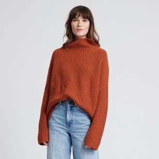 Naadam Wool Cashmere Oversized Ribbed Turtleneck Burnt Orange