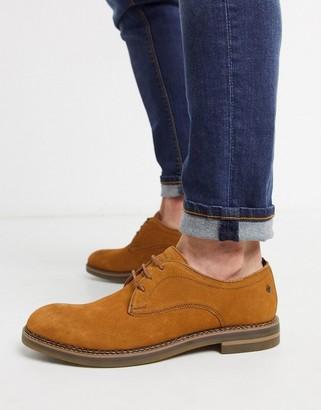 Base London stark derby shoes in tan suede