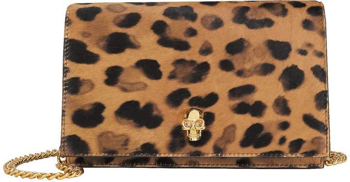 Alexander McQueen Mini Skull Leopard Calf Hair Crossbody